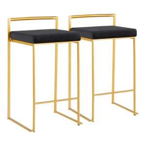 Fuji 26 in. Gold Stackable Counter Stool with Black Velvet Cushion (Set of 2)