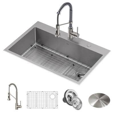 Loften All-in-One Dual Mount Stainless Steel 33in. Single Bowl Kitchen Sink with Pull Down Faucet in Chrome and Steel