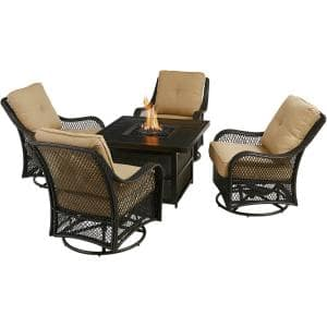 Orleans 5-Piece Aluminum Patio Fire Pit Set with Tan Cushions, 4 Wicker Rocker Chairs, 38 in. Gas Fire Pit Table w/ Lid