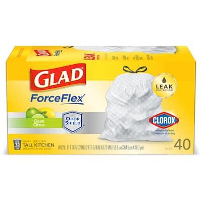ForceFlex 13 Gal. Clean Citrus White Clorox Antimicrobial Tall Kitchen Drawstring Trash Bags (40-Count)