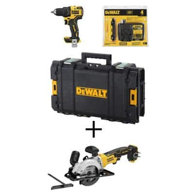 ATOMIC 20-Volt MAX Cordless Brushless 1/2 in. Drill/Driver Kit, (1) 4.0Ah Battery, 4-1/2 in. Circular Saw & Tough System