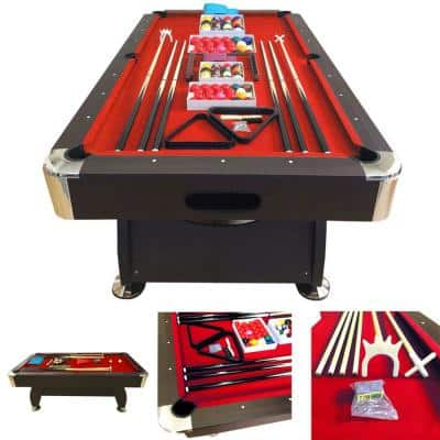 Vintage Red 8 ft. Pool Table with Ball Return in Red