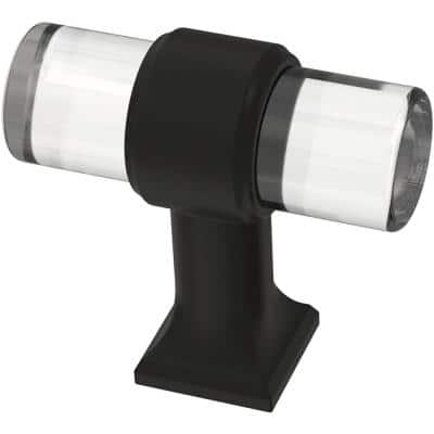 Acrylic Bar 1-9/16 in. (40 mm) Matte Black and Clear Cabinet Knob