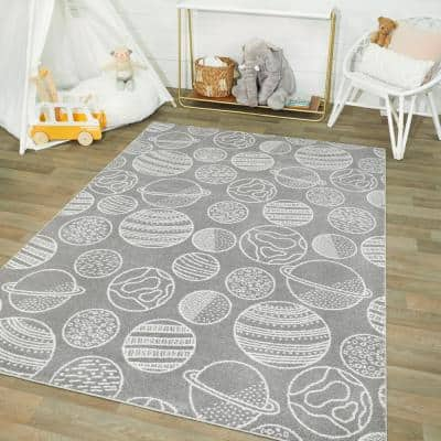 Space Planets Medium Grey 4 ft. x 6 ft. Area Rug
