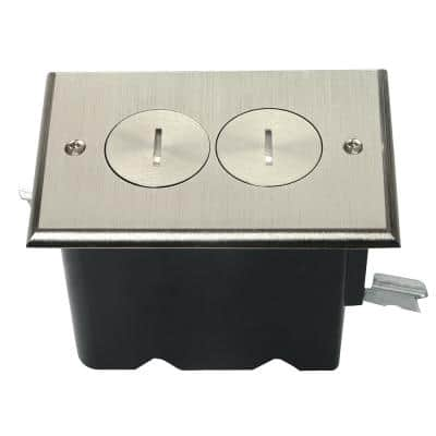 Pass & Seymour Slater Nickel 1-Gang Floor Box with Tamper-Resistant Duplex Outlet for Wood Sub-Floor