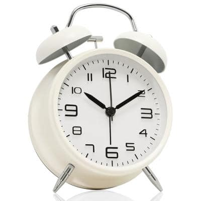 """Non-Ticking 4"""" Twin Bell Alarm Clock - Metal Frame 3D Dial - Desk Table Clock for Home and Office - Milk White"""