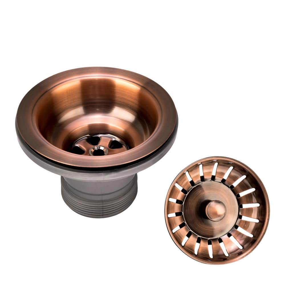 fontaine kitchen sink 3 1 2 in x 2 1 4 in strainer drain with post styled basket in antique copper 82101 ac the home depot