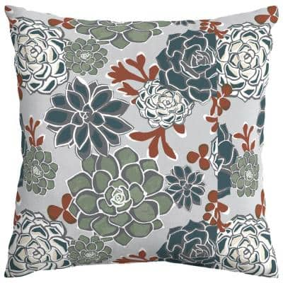 Shadow Gray Succulents Square Outdoor Throw Pillow (2-Pack)