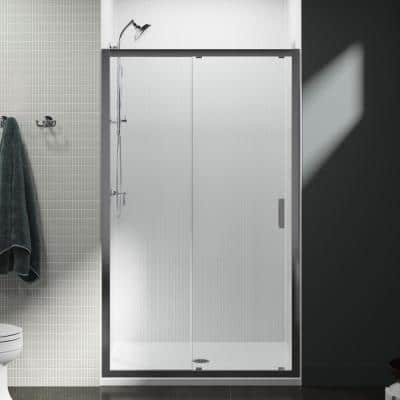 Aerie 48 in. x 75 in. Frameless Sliding Shower Door in Bright Polished Silver with Handle