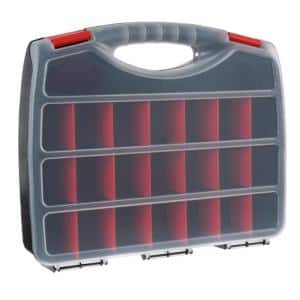 Hardware and Craft Storage Case - 23 Compartments to Organize Parts with Carry Handle and Clear Lid 0.5 Qt