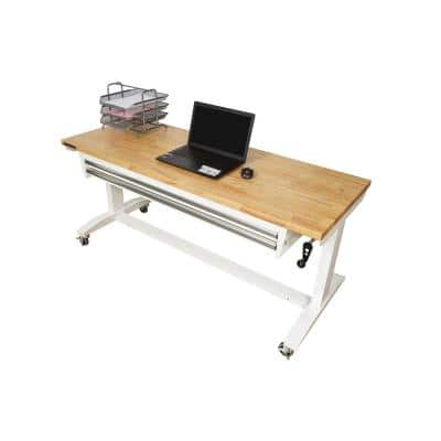 62 in. Adjustable Height Work with 2-Drawers Table in White
