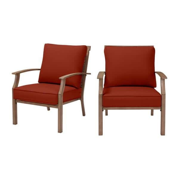 Hampton Bay Geneva Brown Wicker And Metal Outdoor Patio Lounge Chair With Sunbrella Henna Red Cushions 2 Pack Frs60704 2phen The Home Depot