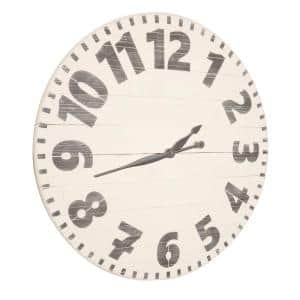 30 in. Oversized White Industrial Style Wall Clock