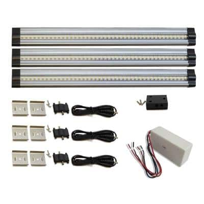 SNAP Hardwired Dimmable 12 in. LED Aluminum 3000K Soft White Linkable Under Cabinet Light Kit (3-Pack)