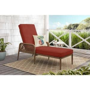 Coral Vista Brown Wicker Outdoor Patio Chaise Lounge with Sunbrella Henna Red Cushions
