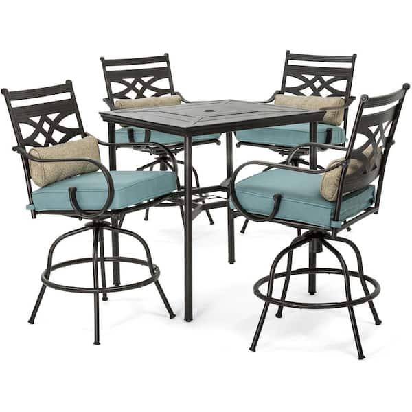 Hanover Montclair 5 Piece Steel Outdoor, Outdoor Patio Furniture Bar Height Dining Set