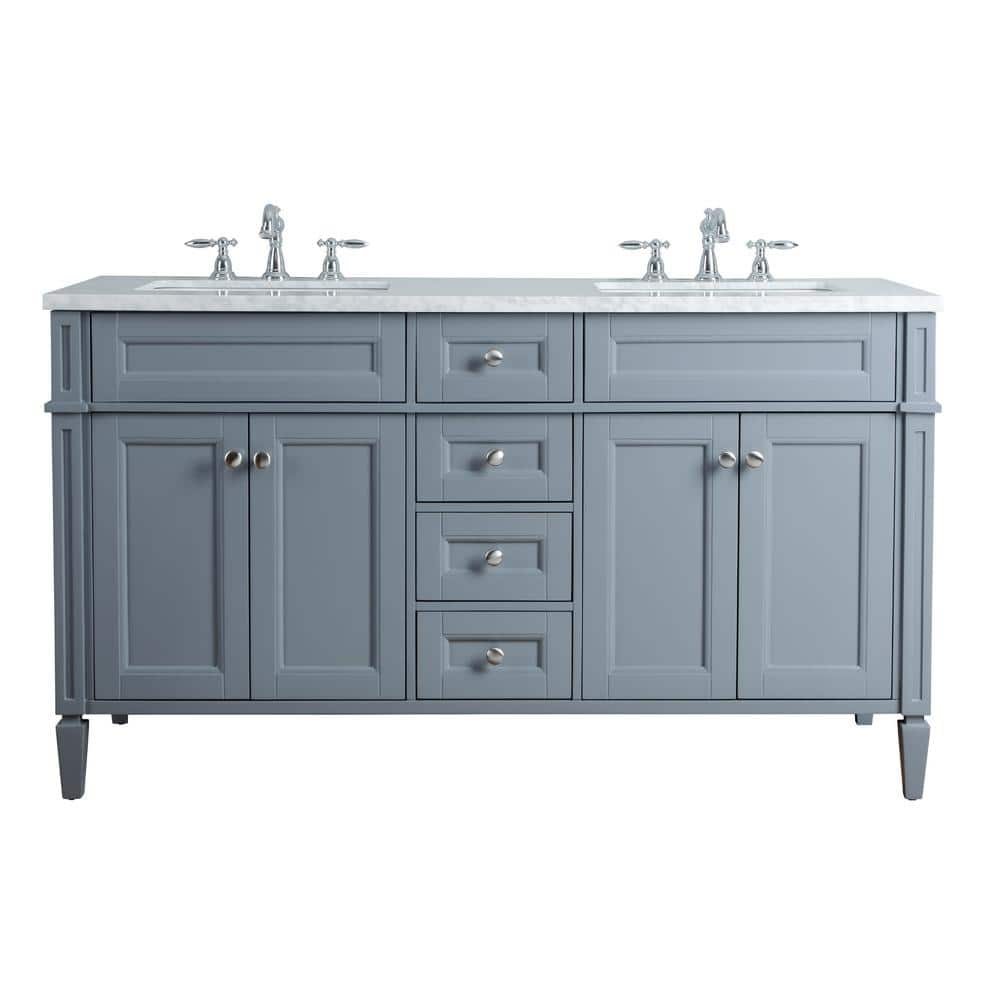 Stufurhome Anastasia French 60 In Grey Double Sink Bathroom Vanity With Marble Vanity Top And White Basin Hd 1524g 60 Cr The Home Depot