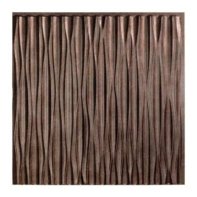Dunes Vertical 2 ft. x 2 ft. Glue Up Vinyl Ceiling Tile in Smoked Pewter (20 sq. ft.)