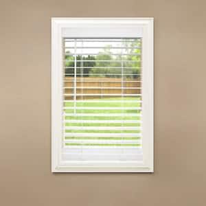 White Cordless Room Darkening 2 in. Faux Wood Blind for Window - 34 in. W x 84 in. L