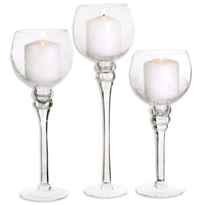 Crackled Glass Footed Hurricanes (Set of 3)