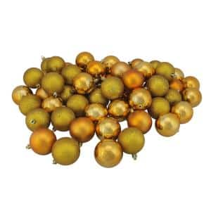 2.5 in. Antique Gold Shatterproof 4-Finish Christmas Ball Ornaments (60-Count)
