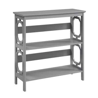 32.5 in. Gray Wood 3-shelf Etagere Bookcase with Open Back