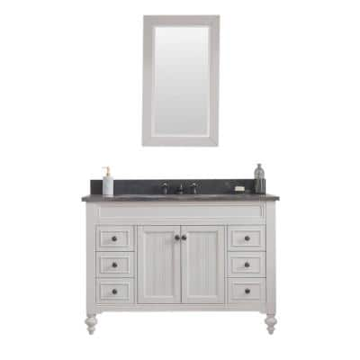 Potenza 48 in. W x 33 in. H Vanity in Ivory Grey with Granite Vanity Top in Blue Limestone with White Basin and Mirror