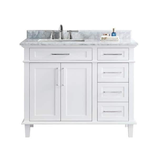 Ari Kitchen And Bath Newport 42 In Single Bath Vanity In White With Marble Vanity Top In Carrara White With White Basin Akb Newpo 42 Wh The Home Depot