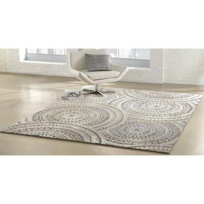Spiral Medallion Gray 8 ft. x 11 ft. Geometric Scatter Area Rug
