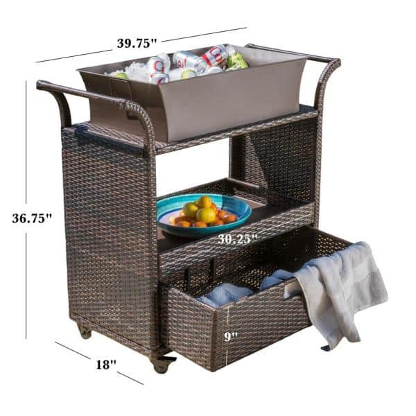 Noble House Ravenna Wicker Outdoor Serving Bar With Ice Bucket And Drawer 5603 The Home Depot