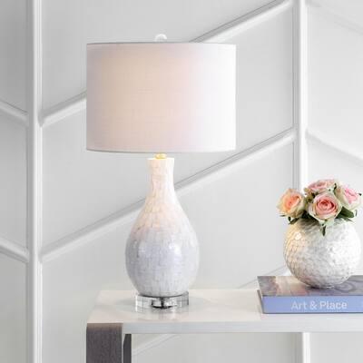 Josephine 26.5 in. White Seashell LED Table Lamp