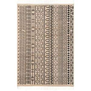 Harmoni Ethnic Stripes Natural 5 ft. x 8 ft. Area Rug