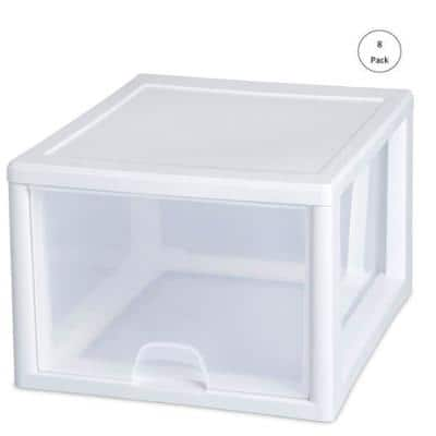 10.25 in. x 10.25 in. 27 Qt. 1-Drawer Single Modular Stacking Storage Drawer Container (20-Pack)