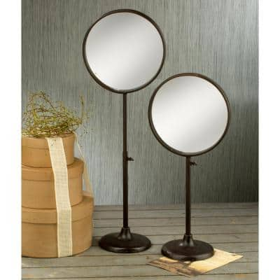 Industrial Round Brown Burnished Tabletop Mirror