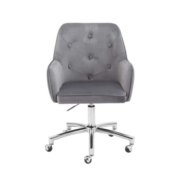 Homefun Gray Velvet Home Office Tufted Adjustable Height Task Chair With Wheels Hfhdof 008g The Home Depot