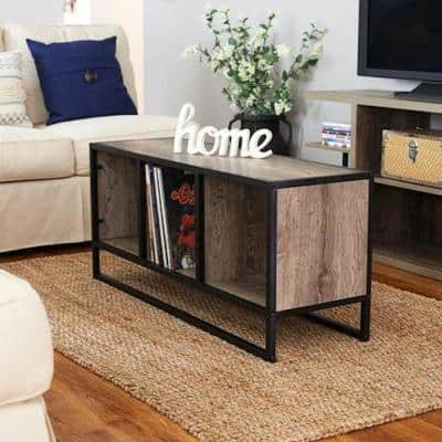 Ashwood 43 in. Light Wood/Black Large Rectangle Wood Coffee Table with Shelf