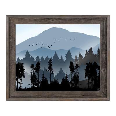 16 in. x 20 in. Fog Over Blue Mountains Barnwood Framed Print Wall Art