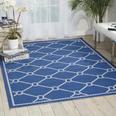 Rope Navy Blue 8 ft. x 11 ft. Trellis Transitional Indoor/Outdoor Area Rug