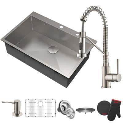 All-in-One Drop-In Kitchen Sink and Bolden Single Handle Kitchen Faucet with Soap Dispenser in Stainless Steel
