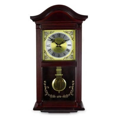22 Inch Wall Clock in Mahogany Cherry Oak Wood with Brass Pendulum and 4 Chimes