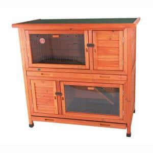 3.8 ft. x 2.1 ft. x 3.7 ft. 2-in-1 Rabbit Enclosure with Insulation Hutch