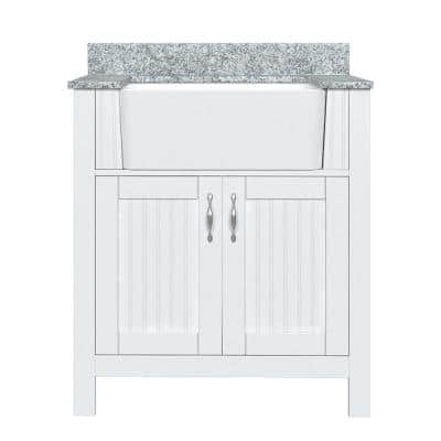 Davenport 31 in. W x 19 in. D Vanity in Bright White with Granite Vanity Top in Jet Black with White Farmhouse Sink