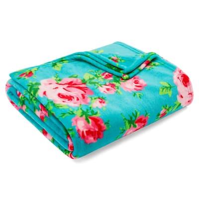 Bouquet Day 1-Piece Blue Ultra Soft Plush Microfiber King Blanket
