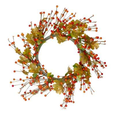 22 in. Orange Berries and Yellow Leaves Fall Harvest Artificial Wreath