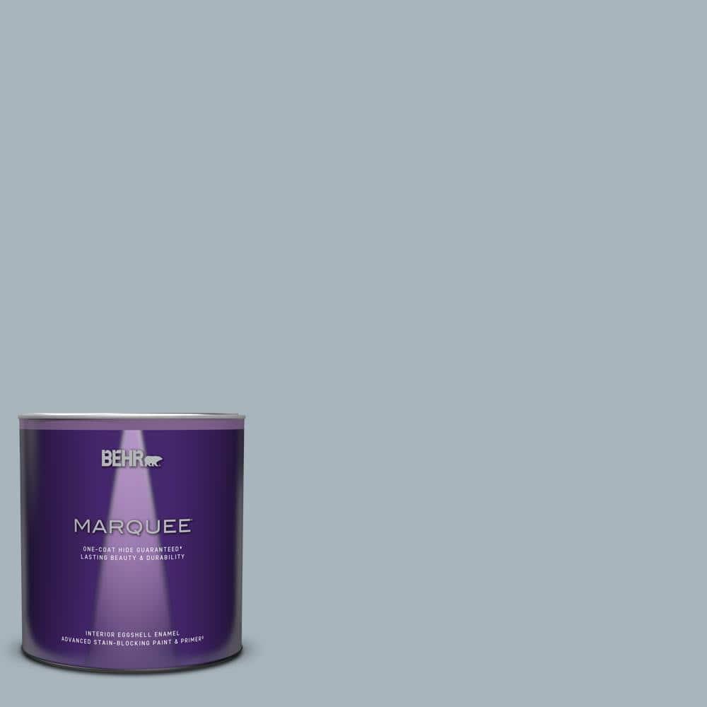 Behr Marquee 1 Qt Mq5 23 Intercoastal Gray One Coat Hide Eggshell Enamel Interior Paint Primer 245004 The Home Depot