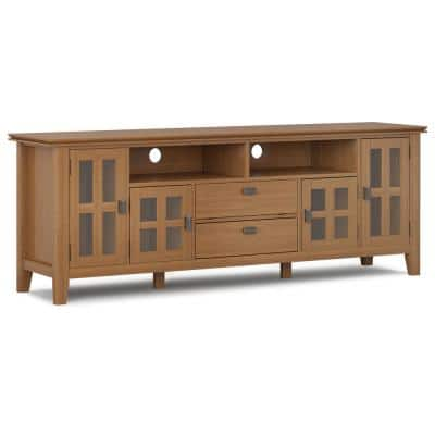 Holden 72 in. Honey Brown Wood TV Stand with 1 Drawer Fits TVs Up to 80 in. with Storage Doors