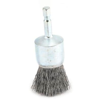 1 in. x 1/4 in. Hex Shank Coarse Crimped Wire End Brush