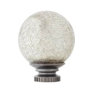 Mix and Match Mercury Glass Sphere 1 in. Curtain Rod Finial in Gunmetal (2-Pack)