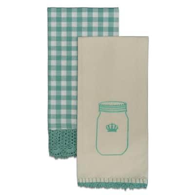 Crochet Envy 18 in. x 26 in. Teal Tea Towel Set (Set of 2)