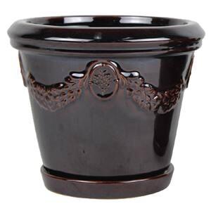 10 in. Brown Belgique Olive Grove Ceramic Planter